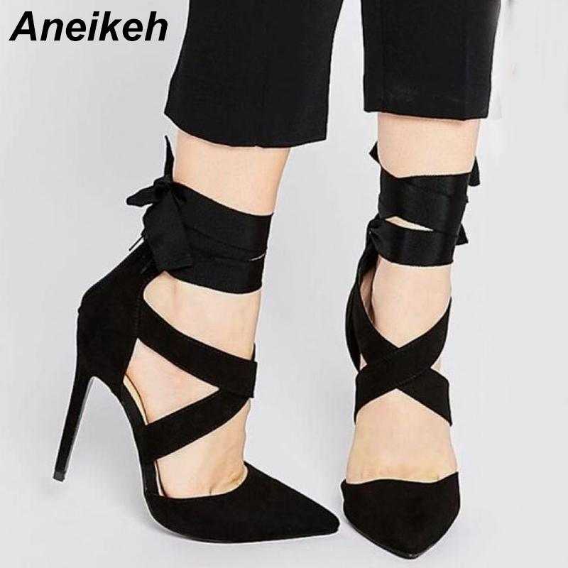 81216f5e7291 2019 Aneikeh Summer Pumps Cross Tied Ankle Strap Female Faux Suede Sexy Pointed  Toe Gladiator Pumps High Heels Black Footwear Dress From Ajshoesfactory