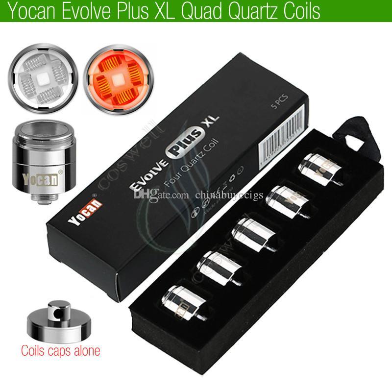 Authentic Yocan Evolve Plus XL Replaceable Quad Four Quartz Rods Coils and Cap Replacement Wax Heater Core Head Vape Pen Herbal Vaporizers