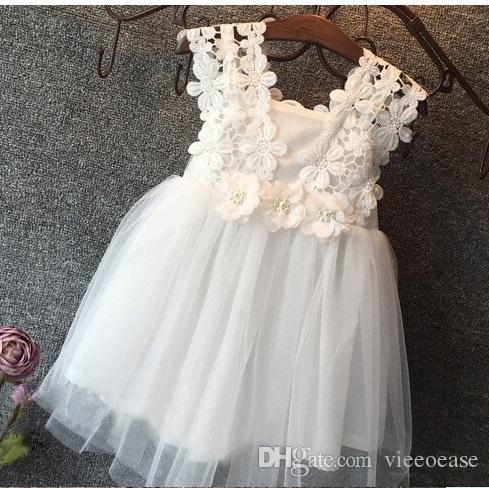 Vieeoease Mädchen Kleid Blume Kinder Kleidung 2018 Sommer Mode Ärmellos Weste Spitze Tutu Prinzessin Party Kleid KU-137