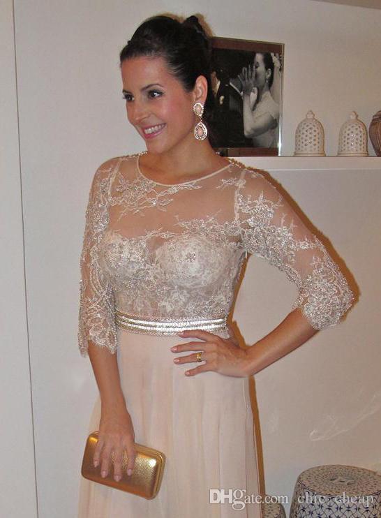 Kat Uzunluk Boncuk İnciler Dantel 3/4 Kollu Şifon Zarif anne Gelin Elbiseler Jewel Vintage Gelinlik Modelleri