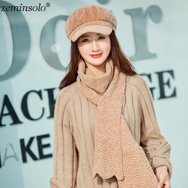 ba4790ba016 2018 Casual Pompom Women Winter Scarf Hats Set Caps Solid Knitted Hat Female  Fashion Lady Skulliess Beanies Cap Thick Beanie Baseball Hat Beach Hats  From ...