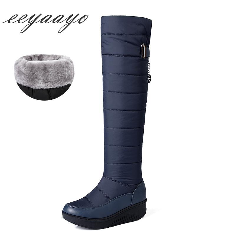 ad969266d1e6 2018 New Winter Women Over The Knee Boots Wedge Middle Heel Round Toe Sexy  Ladies Women Shoes Blue Down Snow Tight High Boots Low Boots Cheap Shoes  Online ...
