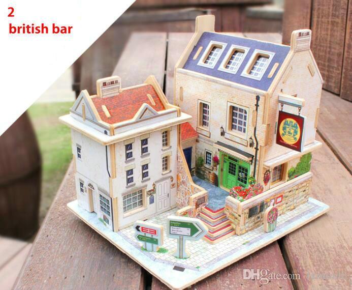 Magia quente 3D Puzzle Crianças Brinquedos Educativos DIY Puzzles De Madeira Jigsaw Casa Castelo Famoso edifício