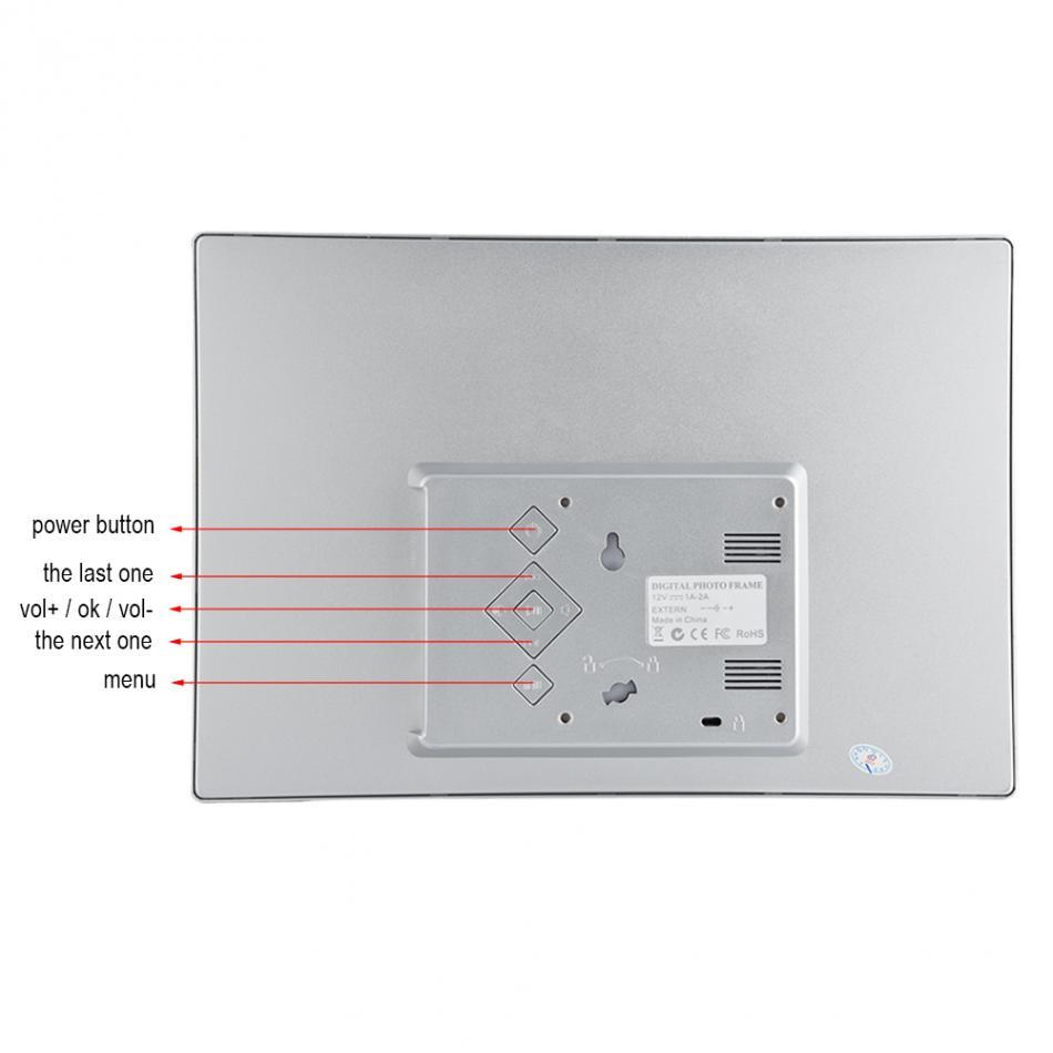 "Freeshipping 12"" HD TFT LED Aluminium Alloy Digital Photo Frame Calendar Alarm Clock MP3/4 Movie Player Support SD / MMC / MS card/USB"