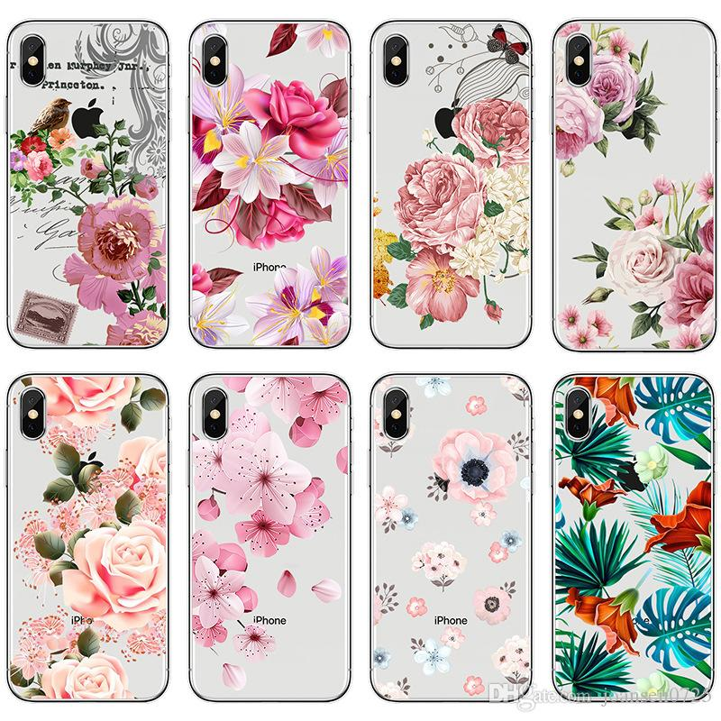free shipping f59f1 b4af4 For iPhone X cases beautiful Floral patternTPU painting Cell Phone Cases  soft silicone back phone shell cover for iphone 5S 6S 7 8 Plus