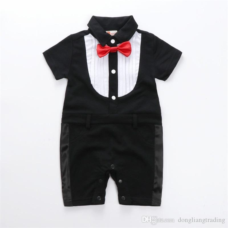 6a8fdc9fd403 2019 Children Gray Clothes Baby Boy Romper 2018 Time Limited Cotton  Gentleman Wedding Kids Bodysuit With Bow Outfit Clothing From  Dongliangtrading