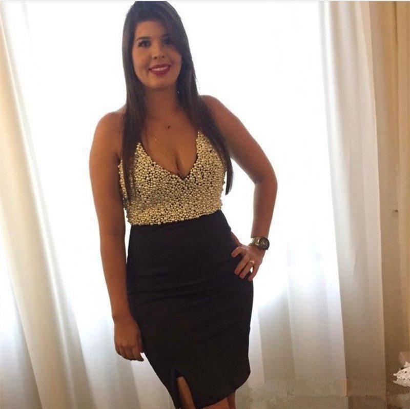 Элегантный длиной до колена короткие коктейльные платья полный жемчуг V шеи платье формальное платье выпускного вечера особый случай гость платье с разрезом