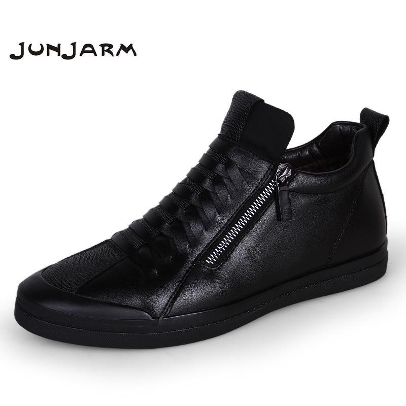 f98870e30a 2019 JUNJARM New Men Boots Warm Plush Mens Winter Shoes Fashion Men Snow  Boots Zipper Male Ankle Black Cotton Inside Men Shoes Sneakers Rain Boots  For Women ...