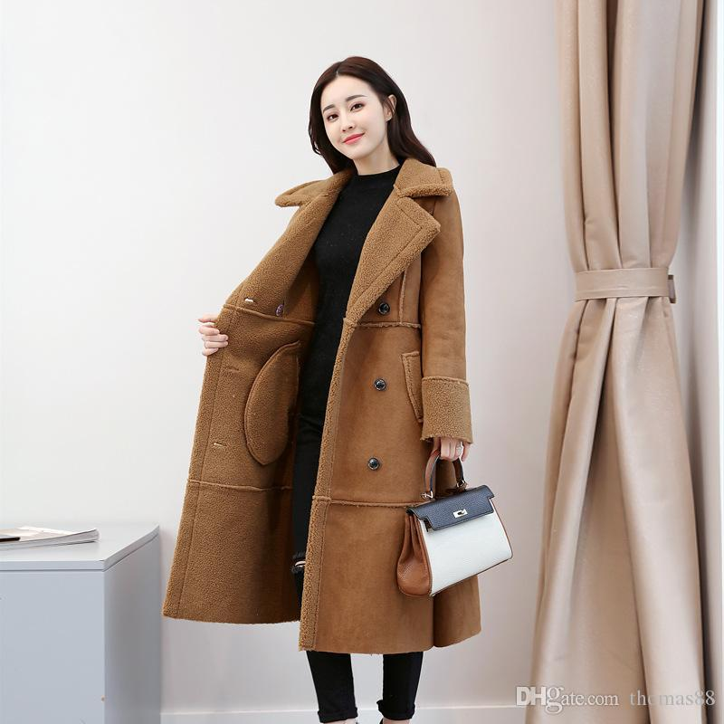 62ba74bb3494 Women Thick Coat Winter Warm Suede Plush Woolen Trench Coat Long ...