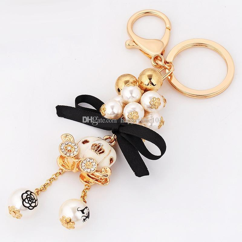 Pumpkin Car Pearl Strip Pendants with Black Bow Metal Keychain Keyring Car Keychains Purse Charms Handbag Pendant Best Gift