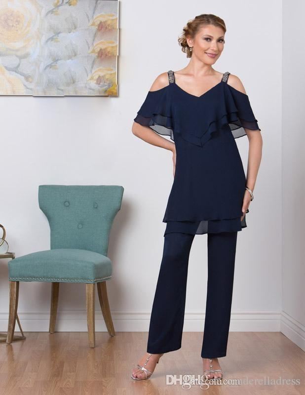 2018 Navy Blue Mother Of Bride Pant Suits Two Piece Chiffon Mother Of The Bride V Neck Cheap Plus Size Mother's Wear