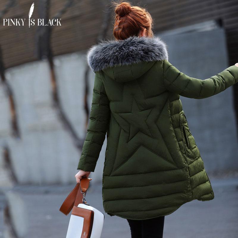 the best attitude c80c0 8fe3e Pinky Is Black Damen Winterjacke 2017 Army Green Damen Jacke Dickes Fell  Kapuze Langer Parka Daunen Baumwolle Gepolsterter Wintermantel