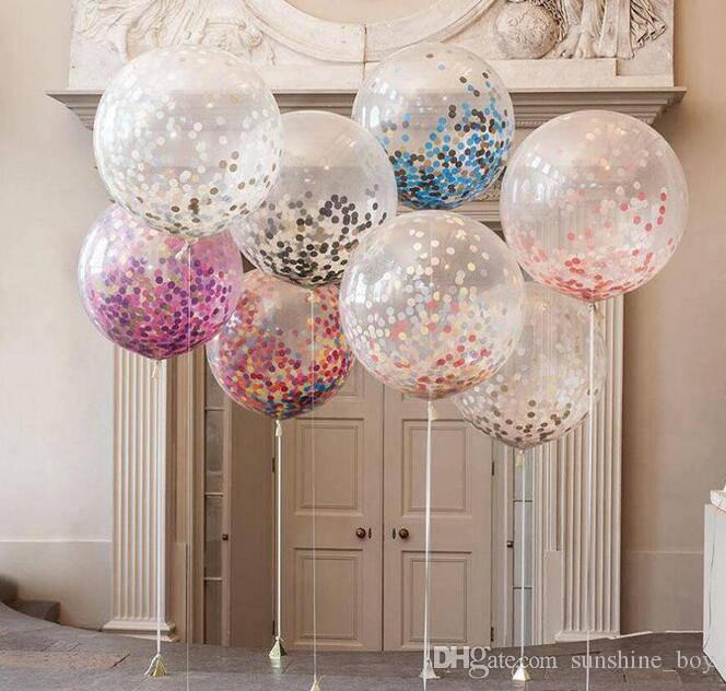 Festival dekorasyon 36 inç dairesel saydam kağıt balon büyük renk payetler lateks balon Çocuklar Oyuncak doğum günü partisi Düğün Süsleme