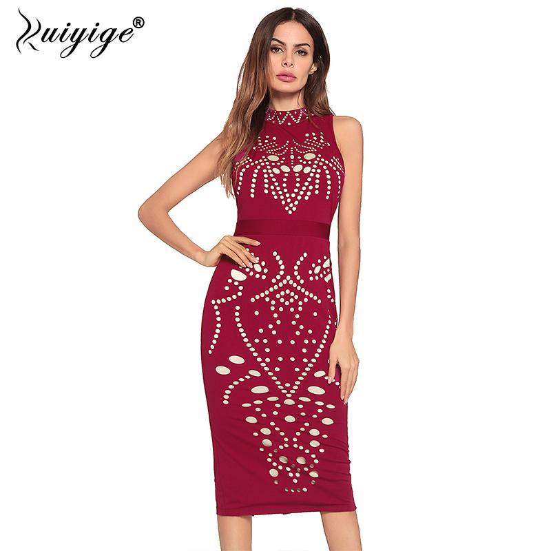 3bce565d8fd62 Ruiyige 2018 Women Sexy Dress Sleeveless Turtleneck Hollow Out Tunic  Bodycon Slim Pencil Dresses Office Lady Casual Party Club