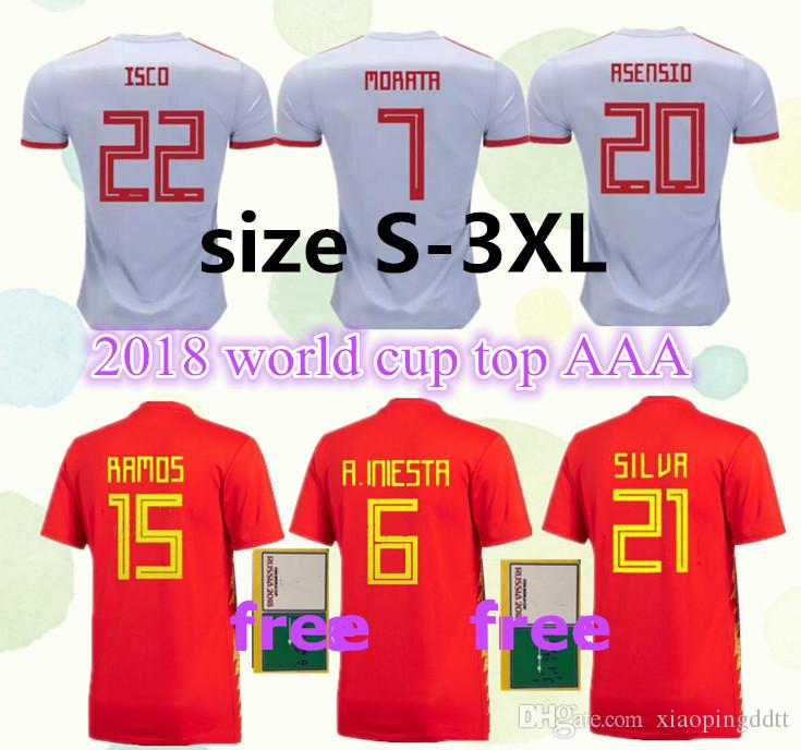 dbdbe670c3c 2019 S 3XL Spain Home Away Soccer Jersey Free Patches 2018 World Cup Spain  Soccer Shirt ASENSIO MORATA ISCO A.INIESTA Football Uniforms Sales.