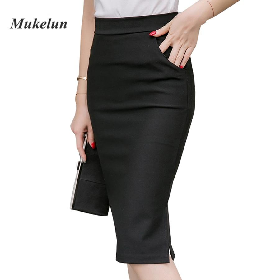 ede453c2df 2019 2018 Sexy Women Work Skirt Slim Bodycon Summer High Waist Pockets  Split Formal OL Office Ladies Black Plus Size Pencil Skirts From Sugarlive,  ...