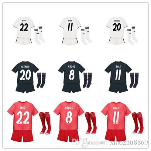 b5e3b21ea2 18 19 Real Madrid RONALDO Modric Arsensio Casa Lejos 3er. Niños Camisetas De  Fútbol Conjuntos Completos Niños Kits Para Niños 2019 Tercera JAMES BALE ...