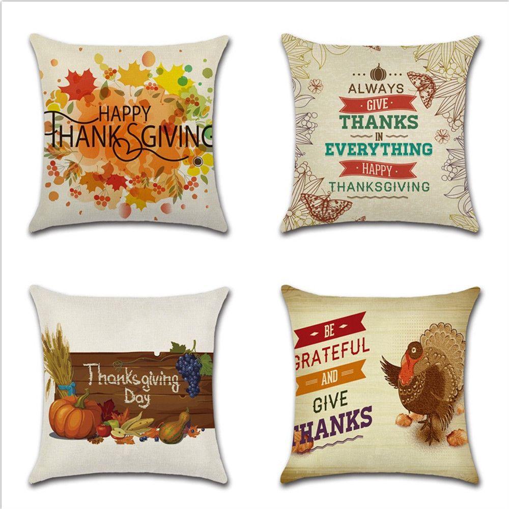 New Thanksgiving Day Pillow Case Cushion Cover Theme English Turkey