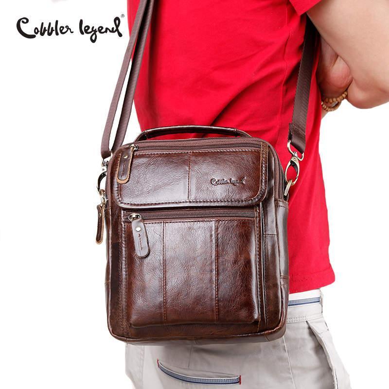 Cobbler Legend Натуральная кожа Мужские сумки Небольшой клапан Повседневная сумка Мужская сумка через плечо Мужская сумка через плечо Деловая сумка