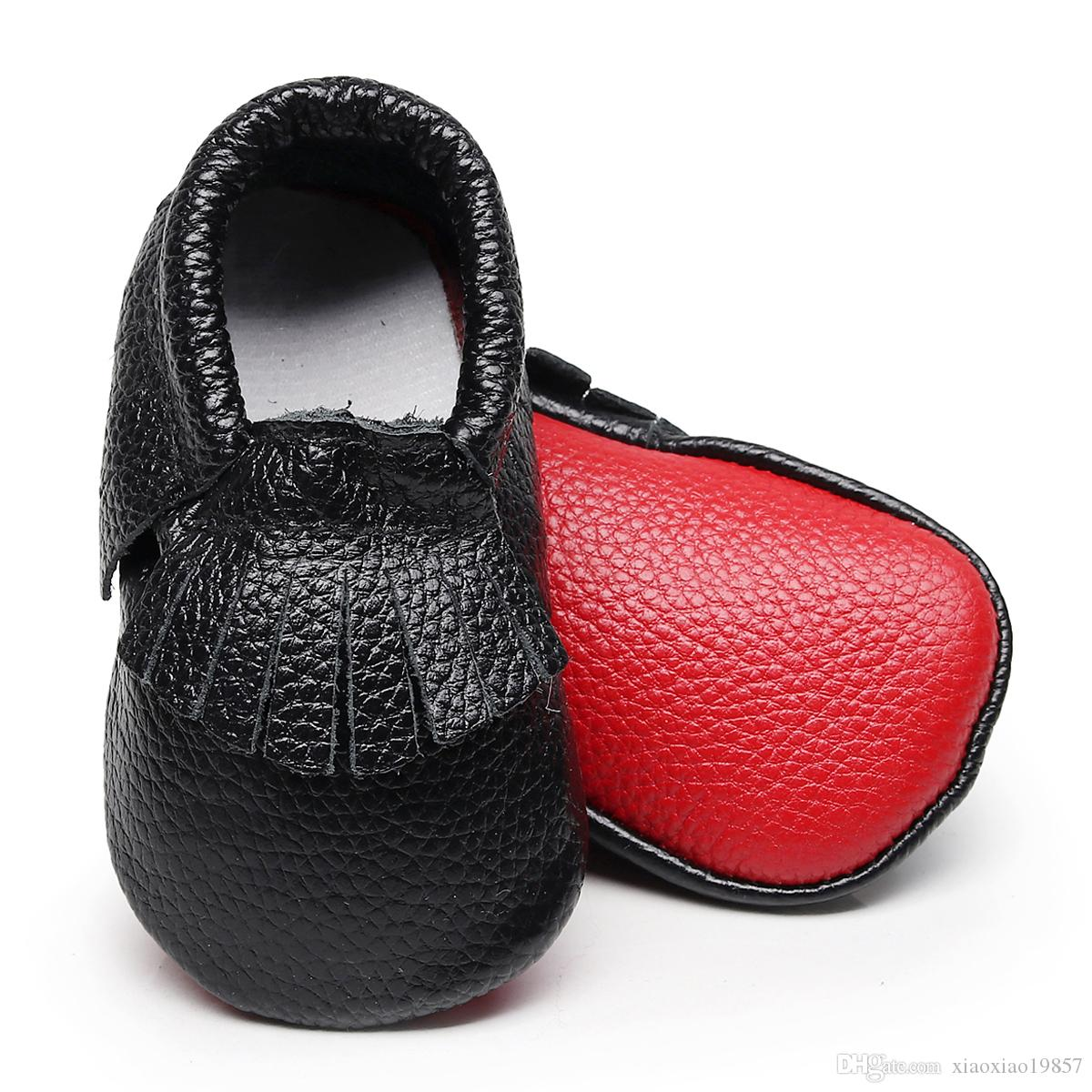 b081ba5bab7d 2019 HONGTEYA First Walkers 100% Genuine Leather Handmade Baby Shoes Red  Bottom Baby Moccasins Newborn Toddler For 0 2years From Xiaoxiao19857