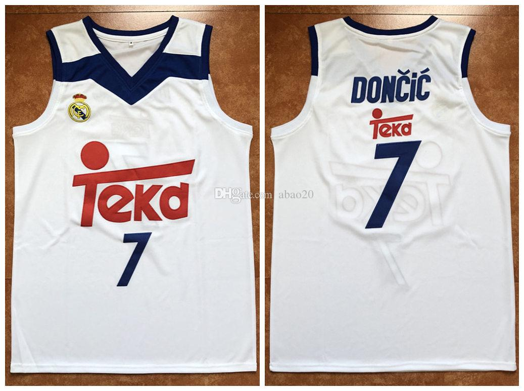 detailed look a64be faeab #7 Luka Doncic Real Madrid Euroleague Europe Basketball Jersey Mens  Embroidery Stitched Custom any Number and name Jerseys