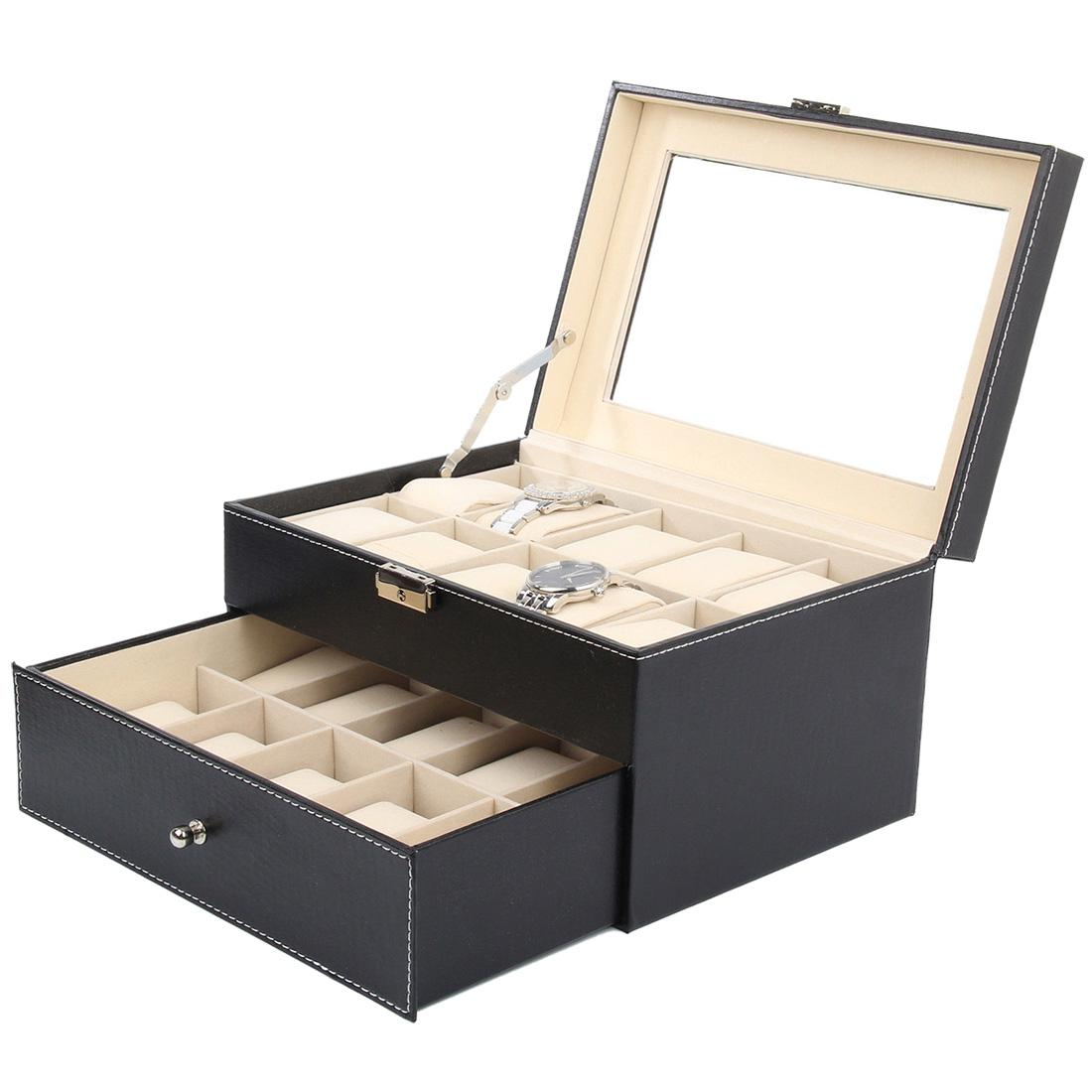Faux Leather Watch Case Storage Display Box Organiser Jewelery Glass  TopMaterial U0026 Size:20 Grid Leather Storage Boxes U0026 Bins Cheap Storage Boxes  U0026 Bins Faux ...