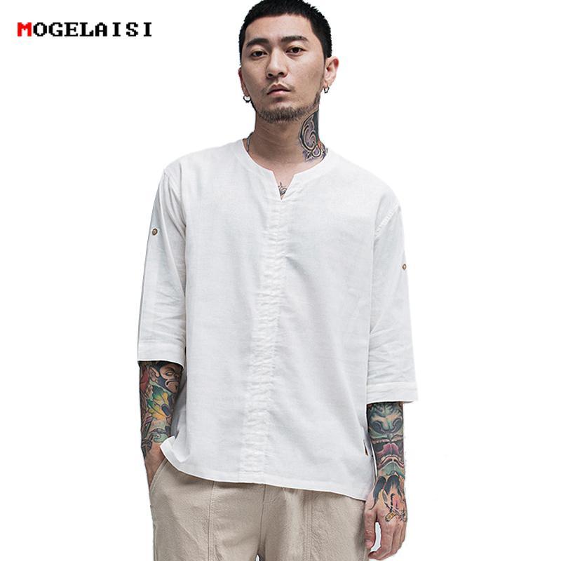 Nuova Uomo Manica In Mogelaisi Acquista T Shirt Lino Mezza f76gyb