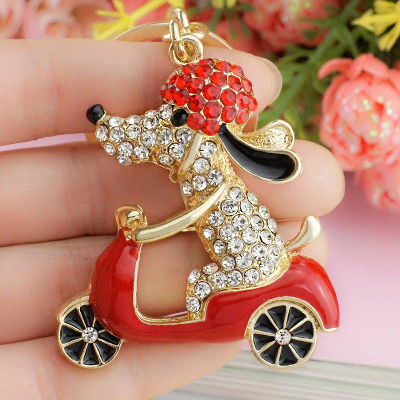 2018 New Lovely Dog Motorcycle Biker Crystal Rhinestone Metal Bag Pendant Keyring Keychain For Car