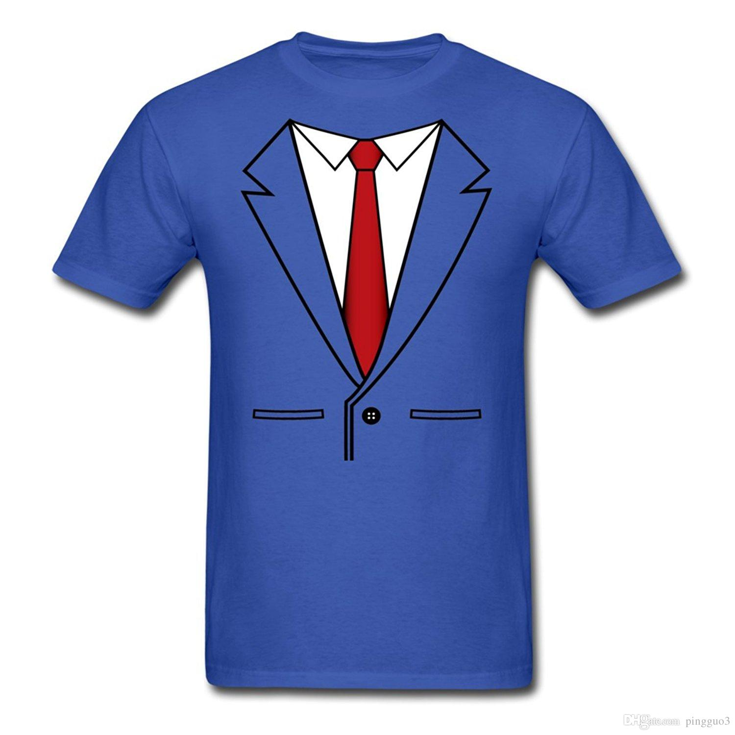 Fake Business Suit With Red Tie Mens T Shirt Cartoon Print Short