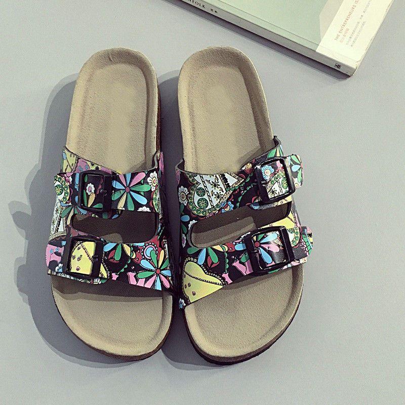 Lady Cork summer Beach Sandles Two straps PU Women Sole Slippers Dark green Flat Flip Flops Outdoor Sandals Casual Couple Slippers