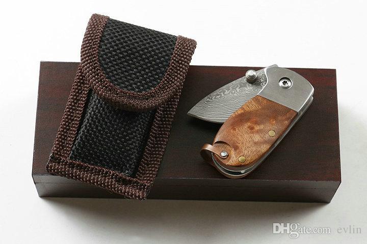 Hot Sale! EDC Pocket Folding Knife Damscus Steel Blade Shadow Wood Handle Mini Small Keychain Knives Liner Lock