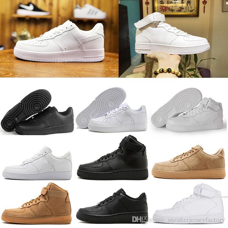 new styles 33c30 a7a06 Nike Air Force 1 One AF1 Shoes Nuevas Fuerzas Clásicas Clásico Hola Alto Y  Bajo Blanco Negro Trigo Hombres Mujeres Zapatillas Deportivas Zapatillas De  ...