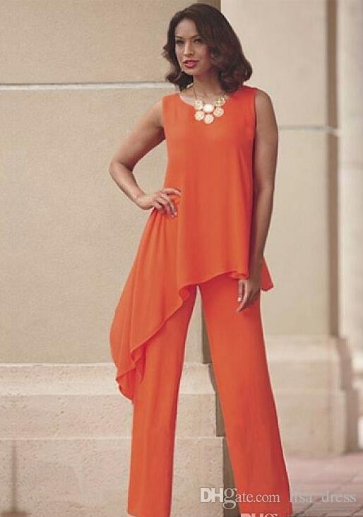 Orange Deux Pièces Mère De La Mariée Pantalon Costumes Pour Mariage Cou De Bijoux Cou En Mousseline De Soie Robe D'invité De Mariage Asymétrique Plus La Taille Robes Formelles