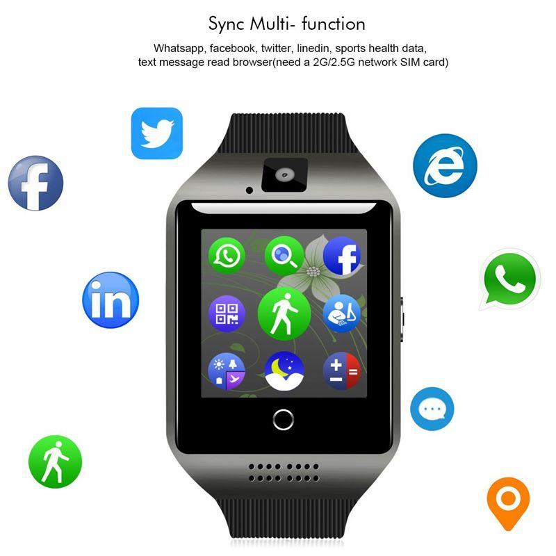 6a852e23370 Compre 2018 Bluetooth Smart Watch Q18 Suporte Smartwatch Facebook Sim Card  Gsm Câmera Para Android   Ios Telefone Inteligente Telefone Boa Qualidade  De ...