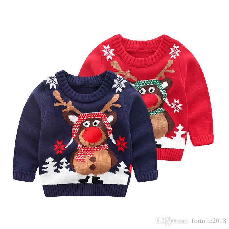 111a0c380570 Christmas Knitted Baby Clothes Elk Kids Cardigan Sweater Baby Boy ...