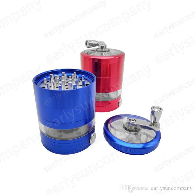 En markalar Sıcak Satış 4 kat metal sigara lamba Ile El Kırıcı Herb Tütün değirmenleri 4 renk Yanıp Sönen LED ışıkları