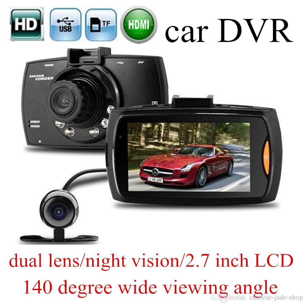 "G30 1080P Dual lens Double Camera Car DVR 2.7"" LCD G-sensor Night Vision Motion Detection Car Dashboard Cam"