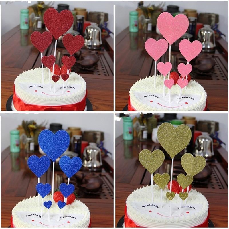 Grosshandel 14 STUCKE Multicolor Herz Cupcake Cake Topper Happy Birthday Kuchen Fahnen Fur Familie Geburtstagsfeier Backen Dekoration Lieferungen Von