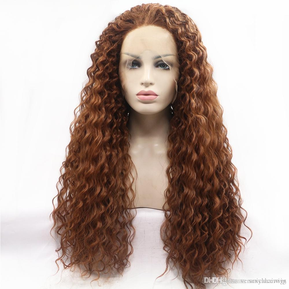 180% Density Water Wave Synthetic Lace Front Wig Loose Curly Heat Resistant  Fiber Wig Brown Color With Baby Hairs For Women Best Full Lace Wigs Custom  Lace ... bffb52939