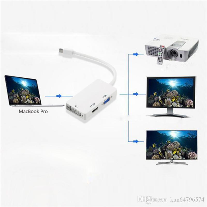 3 in 1 Thunderbolt Liman Mini Displayport HDMI Mac Macbook Air için DVI VGA Ekran Portu Adaptör Kablosu iMac Microsoft Surface Pro
