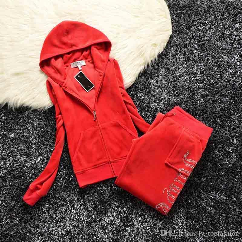 İlkbahar / Sonbahar 2020 Kadın Marka Kadife Kumaş Tracksuits Kadife Suit Kadın Eşofman Kapüşonlular Ve Pantolon yağ kardeş spor