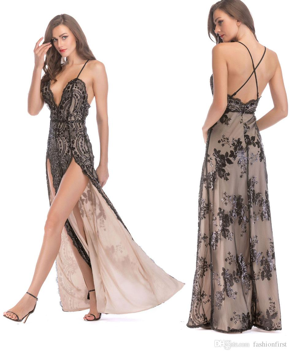 2019 High Quality Summer Sexy Slit Sequins Maxi Floor Length Long Red Black  White Dress Sex Disco Party Sexy Slit Sequinned Dress For Ladies From ... 2cce311595ad