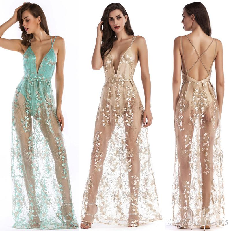 e2db9fa117 2019 2018 Embroidery Sheer Maxi Dress Deep V Neck Backless Long Party  Dresses Summer Beach Party Slip Dress Green Apricot Cocktail Skirt LJH0421  From ...