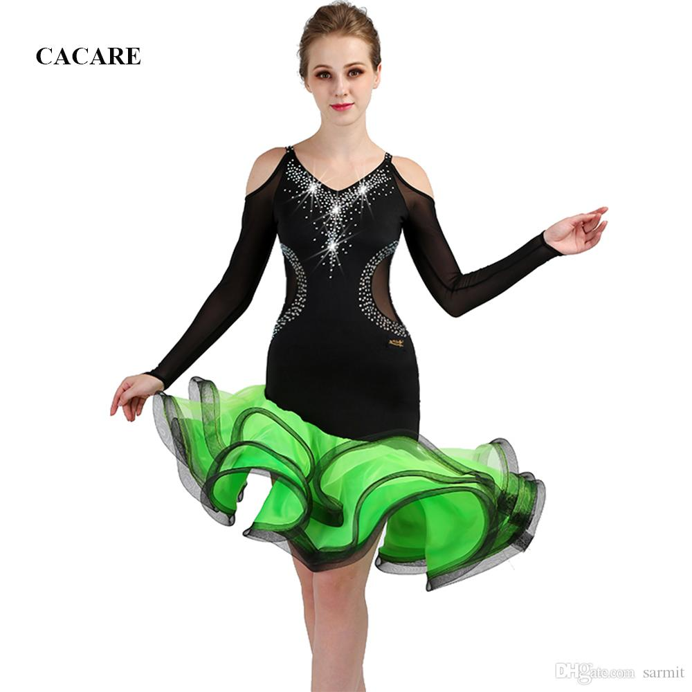 2019 Latin Dance Dress Women Latin Dance Competition Dresses Flapper Dress  Samba CHEAP D0472 Fluffy Sheer Hem Net Long Sleeve Luxury Rhinestones From  Sarmit ... a389ef868