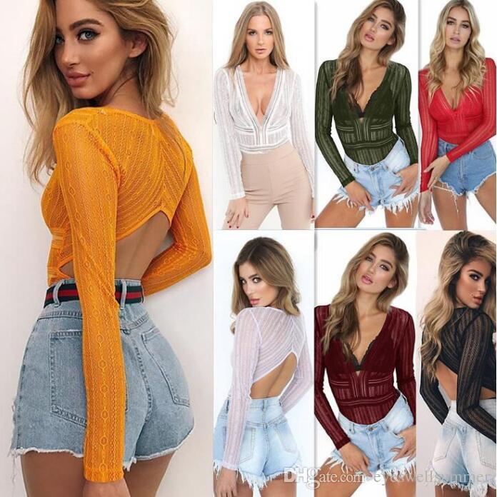 Femmes Mode Combinaison Profonde V-cou À Manches Longues Barbouilleuse Dos Nu Dames Sexy Transparent Bodysuits Salopette Chaud
