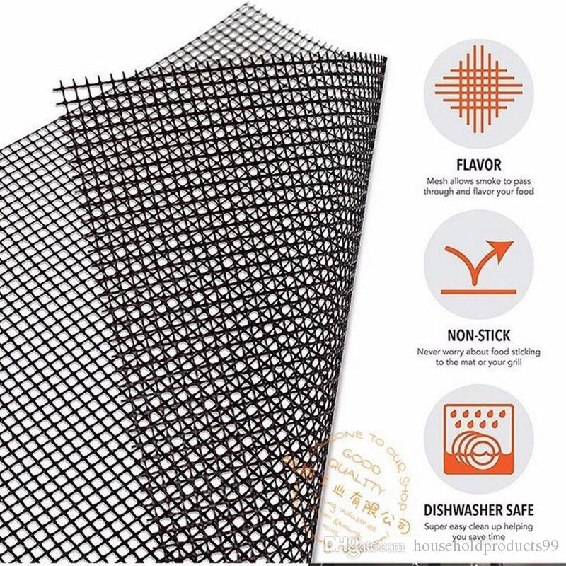 33*40CM BBQ Grill Mat Glass Fiber Nonstick Barbecue Net Reusable Gas Barbecue Grilling Mesh Mat Easy Cleaning Heat Resistant