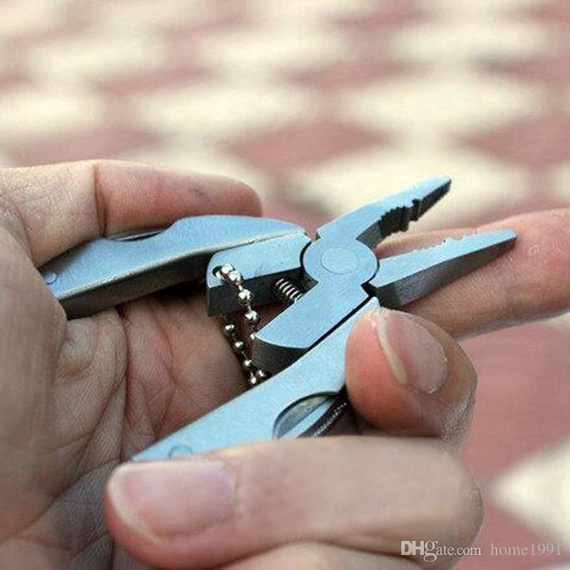 새로운 미니 휴대용 다기능 폴딩 플라이어 포켓 스테인레스 스틸 접이식 나이프 키 체인 드라이버 캠핑 서바이벌 도구 여행 키트