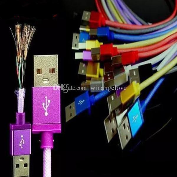 1 m 3FT Balık net örgü Kumaş örgülü mikro 5pin tipi c usb veri kablosu samsung s6 s7 s8 android telefon için