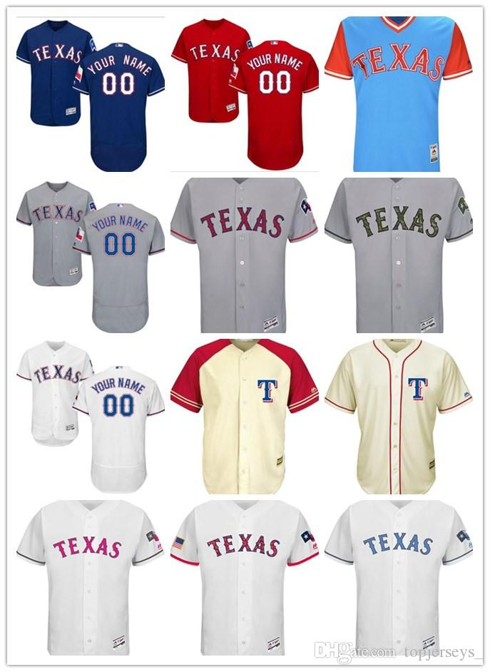 2a46706f3 Custom Men Women Youth Majestic Texas Rangers Jersey  00 Any Your ...