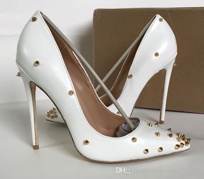 scarpe di marca red sloe donne pompe scarpe tacco alto rivetto scarpe a punta tacco fine signora scarpe da sposa fondo il rosso 8 cm 10 cm 12 cm